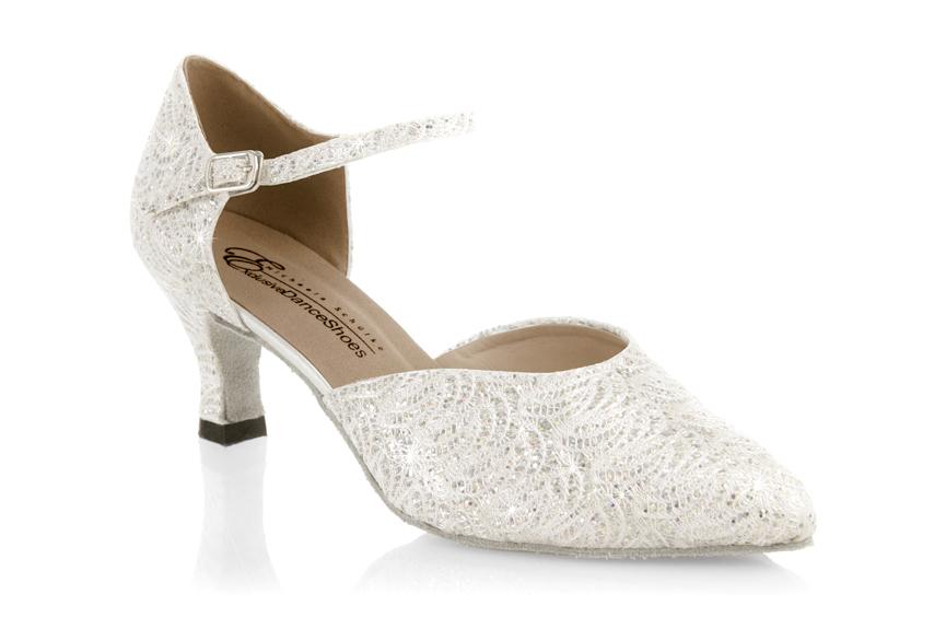 24845118e2 Dámske svadobné tanečné topánky (normálne chodidlo) - glitrované ivory
